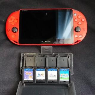 プレイステーションヴィータ(PlayStation Vita)のPS VITA PCH-2000 メタリックレッド Wifiモデル +付属品5点(携帯用ゲーム本体)