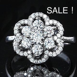 スワロフスキー(SWAROVSKI)のスワロフスキー ジェム Wフラワー デザインリング指輪 K18GPレーザー刻印入(リング(指輪))