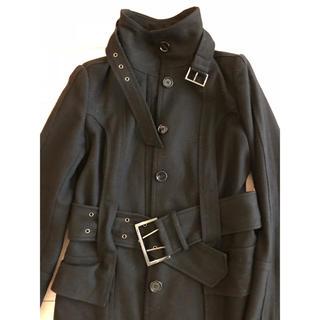 ザラ(ZARA)のコート 黒 ザラ ベーシック ハーフコート 美品(トレンチコート)