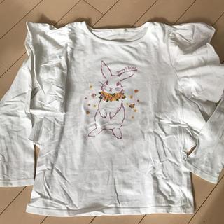 ジーユー(GU)のキッズ 白 長袖シャツ(Tシャツ/カットソー)