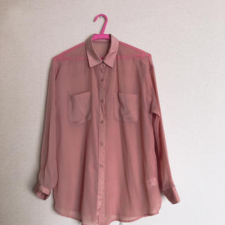 ジーユー(GU)のピンクベージュ 透けシャツ Mサイズ(シャツ/ブラウス(長袖/七分))