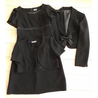 Alama 黒 スーツ 3点セット ワンピース ジャケット ボレロ 冠婚葬祭(礼服/喪服)
