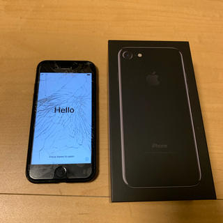 アップル(Apple)の【iPhone7】jet black 128G 画面割れ 訳あり(スマートフォン本体)