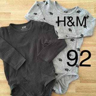 エイチアンドエム(H&M)のベビーロンパース  下着  長袖  92(下着)