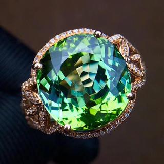 【高級仕様】天然レア級 緑トルマリン リング(リング(指輪))