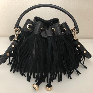 ザラ(ZARA)のZARA BASIC ザラベーシック フリンジバッグ ショルダーバッグ 黒(ショルダーバッグ)