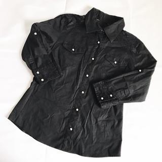 シマムラ(しまむら)のレース付き ブラック シャツ(シャツ/ブラウス(長袖/七分))