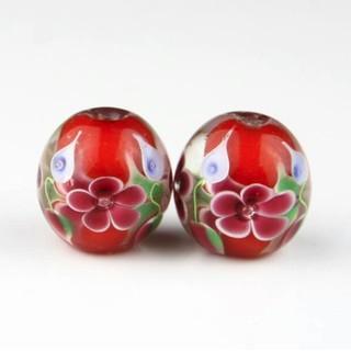 2個セット 大玉 とんぼ玉 ガラス玉 ガラスビーズ 20㎜玉 赤に赤い花柄(和装小物)