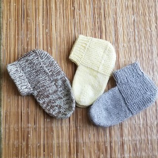 手編みソックス3足セット(レッグウェア)