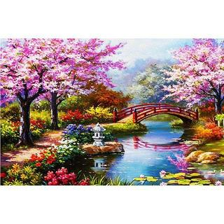 A2サイズ 全面貼り付けタイプ フルダイヤモンドアート 桜と美しい庭 庭園