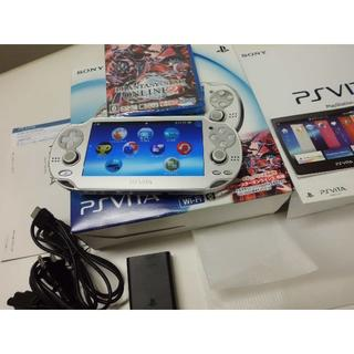 プレイステーションヴィータ(PlayStation Vita)のニータ様専用PSV1000アイスシルバーとソフトと1100サファイアブルー(携帯用ゲーム本体)