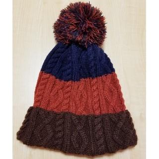 シマムラ(しまむら)のしまむら ボンボン付き3色切り替えニット帽(ニット帽/ビーニー)