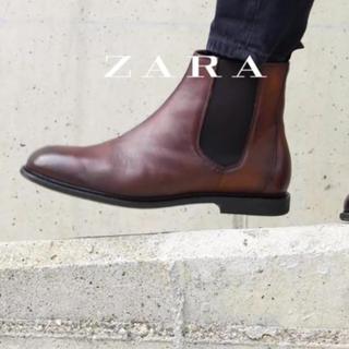ザラ(ZARA)のZARA 新作´タンカラーレザーアンクルブーツ(ブーツ)