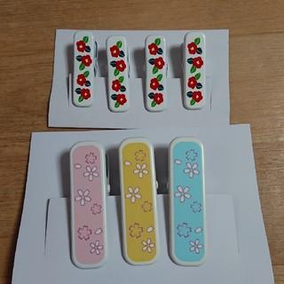着物クリップ 桜柄大3個セット つばき柄小4個セット(和装小物)