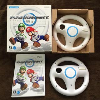 Wii - 【箱有り】Wii マリオカート ソフト、純正ハンドル 2本 まとめてセット