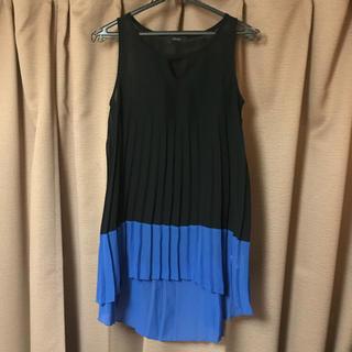 リエンダ(rienda)のリエンダ バイカラーチュニック タンクトップ ブラック ブルー 黒 青(タンクトップ)
