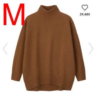 ジーユー(GU)のgu オーバーサイズハイネックチュニック ブラウン ニット セーター(ニット/セーター)