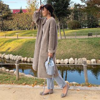 ザラ(ZARA)のAYAKOさん着用 ZARA リバーシブル コート ボア XS グレー(ロングコート)