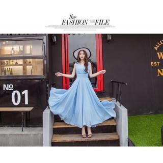 マキシワンピース リゾートワンピース リゾートドレス ドレス スカイブルー M(ロングワンピース/マキシワンピース)
