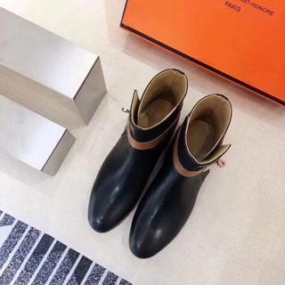 エルメス(Hermes)のエルメス レディース 革靴 23.0cm ブラック(ローファー/革靴)