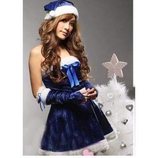 青 ブルーサンタ レディース クリスマス限定 衣装 4点セット 新品(衣装)