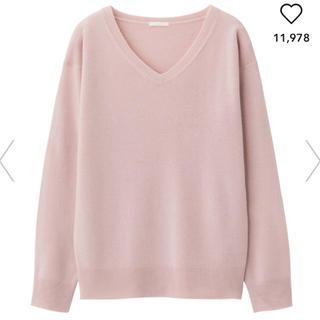 ジーユー(GU)のGU 新品 カシミヤタッチVネックセーター ピンク ユニクロ シンプル S(ニット/セーター)