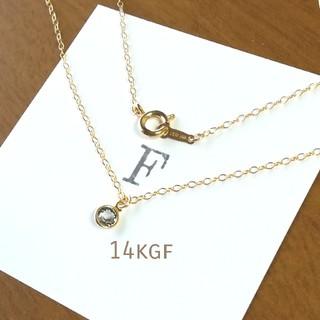 1/7以降の発送 14Kgf ブラックダイヤネックレス 一粒ダイヤネックレス(ネックレス)