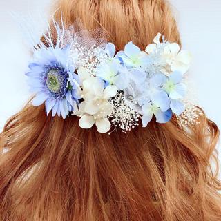 ブルー系♡ヘッドドレス*ミルキーカラーの髪飾り♡かすみ草、チュール付き*(ヘアピン)