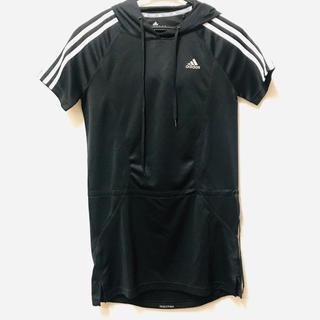 アディダス(adidas)の【adidas】レディース フード付き半袖チュニック 黒 ランニングトップス(ウェア)