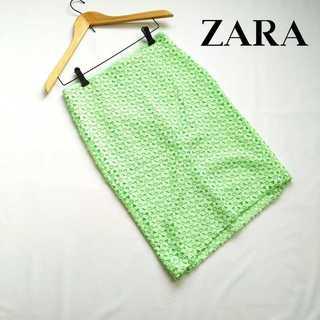 ザラ(ZARA)のザラ ZARABASIC★総刺繍レースタイトスカート M ライトグリーン (ひざ丈スカート)