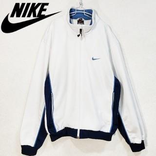 ナイキ(NIKE)の90s NIKE 刺繍ロゴ トラックジャケット 白ネイビー水色(ブルゾン)