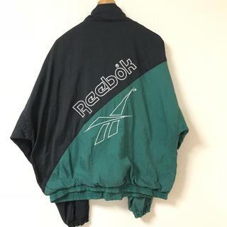 リーボック(Reebok)の【Reebok】リーボック(L)ナイロンジャケット 黒緑ツートン(ナイロンジャケット)