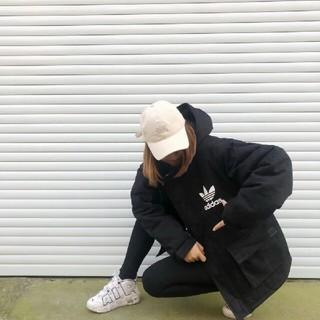 アディダス(adidas)のアディダス フード付きダウンジャケット M黒(ダウンジャケット)