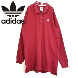 アディダス(adidas)の90s adidas ポロシャツ ロングスリーブ 赤(Tシャツ/カットソー(七分/長袖))