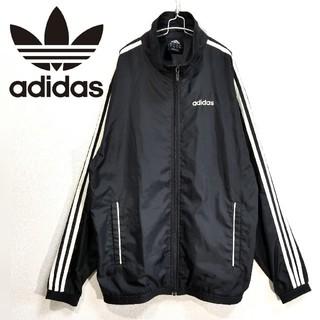 adidas - 90s adidas 刺繍ロゴ 袖ライン ナイロンジャケット 黒