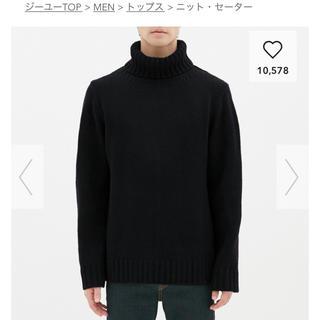 ジーユー(GU)のGU  ローゲージタートルネックセーター  ブラックM(ニット/セーター)
