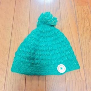 ニット帽 緑 あったかいです!