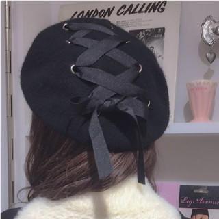 ★新品★ベルベット レースアップ リボン ハトメ クロス ハンチング ベレー帽