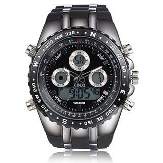 [ビンズ] BINZI 軍事腕時計 アナデジ表示メンズ'(ブラック)