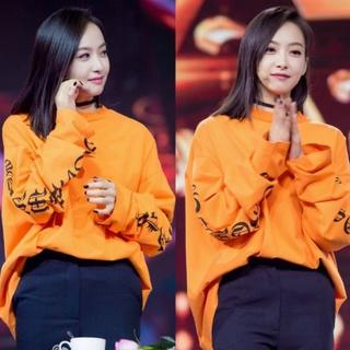 オレンジ 文字T ロング袖 韓国ファッション好きに ロングシャツ