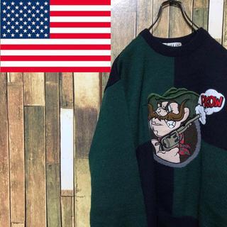 【レア】アメリカ古着☆ガンマン刺繍ビッグロゴ切り替えデザインウールニット 90s(ニット/セーター)