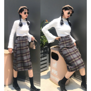 2018韓国風 レディース チェック柄 タイトラシャスカート Aライン 2色(ロングスカート)
