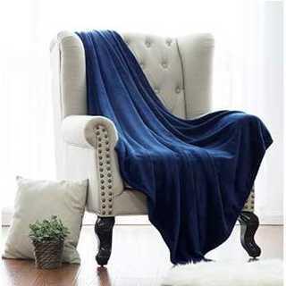【値下げ中!】フランネル素材 毛布 (ネイビー)