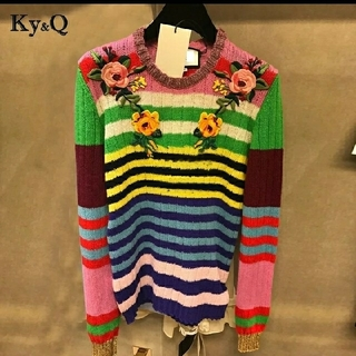 豪華◆花柄刺繍 レインボー ニット プルオーバー◆(ニット/セーター)