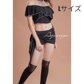 ベリーダンス ネックラインのフリルが可愛いレッスンウェア ブラック Lサイズ(ダンス/バレエ)