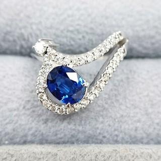K14WG 天然サファイア・ダイヤモンドリング 中古品(リング(指輪))