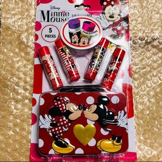 ディズニー(Disney)のアメリカ購入 日本未発売 ミニーちゃん リップ4本セット ケース付(リップケア/リップクリーム)