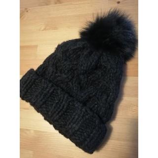 ルシェルブルー(LE CIEL BLEU)のPalinka リアルファーぼんぼんニット帽(ニット帽/ビーニー)