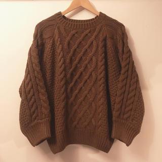 ジーユー(GU)の試着のみ GU ジーユー ケーブルオーバーサイズクルーセーター 茶色 XL(ニット/セーター)