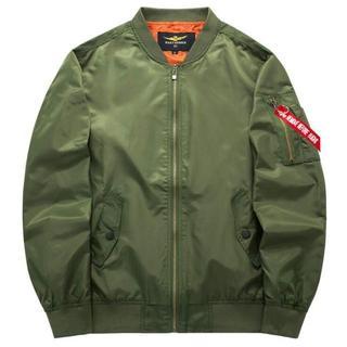 【Lサイズ】ミリタリーフライトジャケット・グリーン・ブルゾン・MA-1(フライトジャケット)